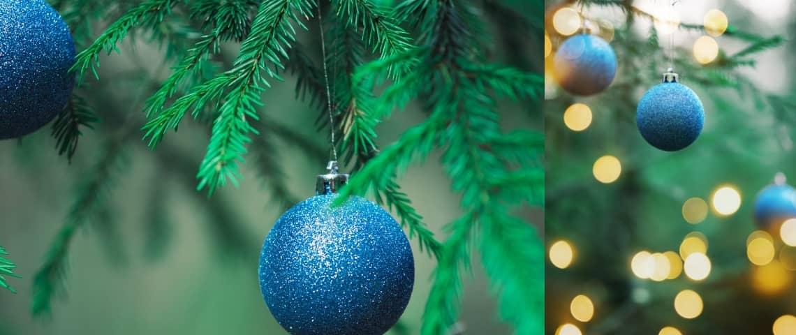 decoración navideña color azul